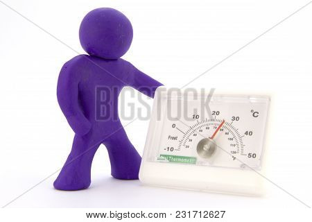 Purple Plasticine Characters And Thermometer. Isolated On White Background