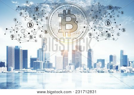 Abstract Glowing Bitcoin Backdrop. Cryptocurrency, Finance, E-commerce And Payment Concept. 3d Rende