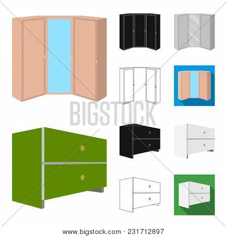Bedroom Furniture Cartoon, Black, Flat, Monochrome, Outline Icons In Set Collection For Design. Mode