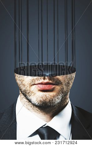 Abstract Image Of Prison Bar Headed Businessman. Freedom And Stereotype Concept