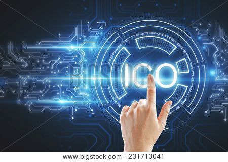 Hand Pointing At Abstract Ico Hologram On Dark Background. Initial Coin Offering Concept. 3d Renderi