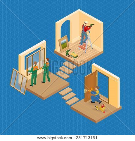 Isometric Interior Repairs Concept. Worker Is Standing On Ladder And Is Drilling A Hole In The Wall.