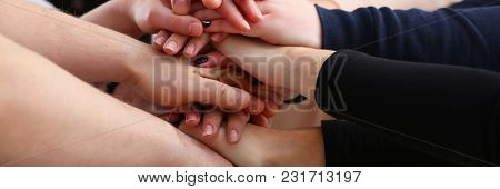 Group Of People In Suits Crossed Hands In Pile For Win Closeup. White Collar Leadership High Five Co