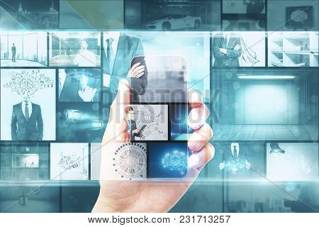 Creative Digital Photo Gallery Background. Businessman Hand Holding Smartphone With Hologram. Double