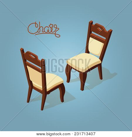 Isometric Cartoon Chair Icon Isolated On Blue. Chairs With White Upholstery. Front And Back. Vector