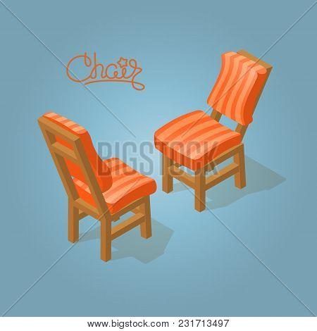 Isometric Cartoon Chair Icon Isolated On Blue. Chairs With Orange Striped Upholstery. Front And Back