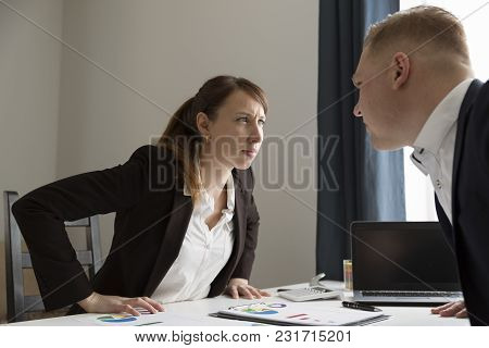 Office Conflict Between Man And Woman. Competition Between Men And Women. Feminism Concept