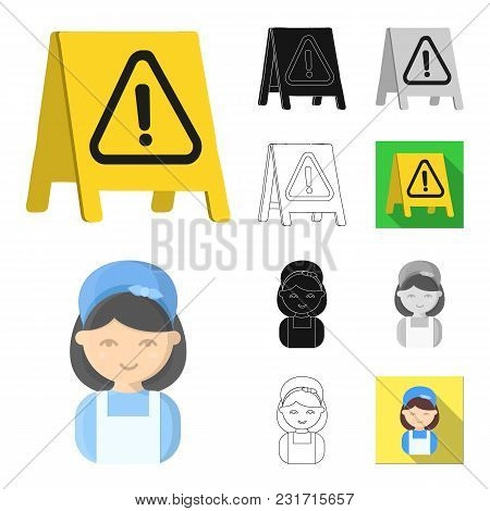 Cleaning And Maid Cartoon, Black, Flat, Monochrome, Outline Icons In Set Collection For Design. Equi