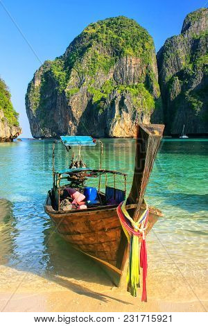 Longtail Boat Anchored At Maya Bay On Phi Phi Leh Island, Krabi Province, Thailand. It Is Part Of Mu
