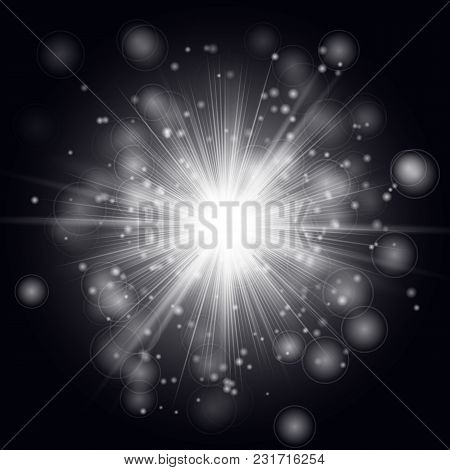 Brilliant Exploding Star With Bright Highlights On A Black Background