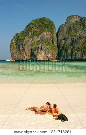 Tourists Sunbathing At Maya Bay Beach On Phi Phi Leh Island, Krabi Province, Thailand. Koh Phi Phi L