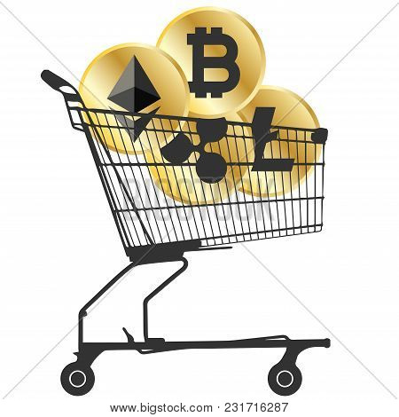 Bitcoin,ripple,ethereum And Litecoin Cryptocurrency Coins In Supermarket Cart Isolated On White Back