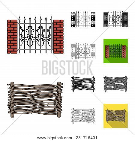 Different Fence Cartoon, Black, Flat, Monochrome, Outline Icons In Set Collection For Design.decorat