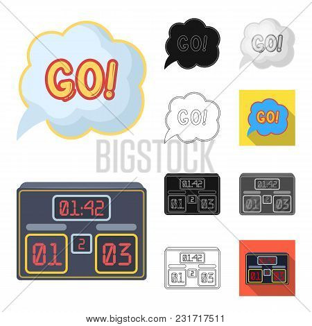 Fan And Attributes Cartoon, Black, Flat, Monochrome, Outline Icons In Set Collection For Design. Spo