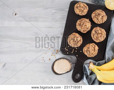 Healthy Gluten-free Homemmade Banana Muffins With Buckwheat Flour. Vegan Muffins With Poppy Seeds On