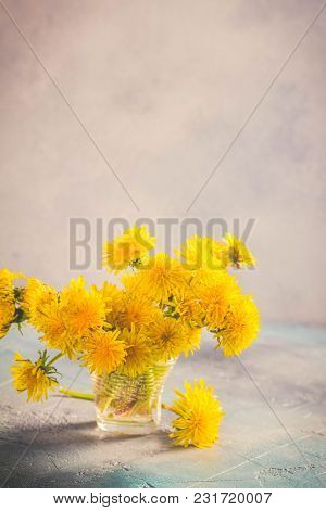 Yellow Dandelion Bunch On Blue Background With Copy Space, Retro Toned
