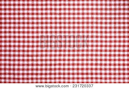Red Checkered Tablecloth Vor Texture Or Background