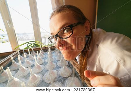 Crazy Scientist Or Student Is In Botanic Laboratory. Inspiration Concept.
