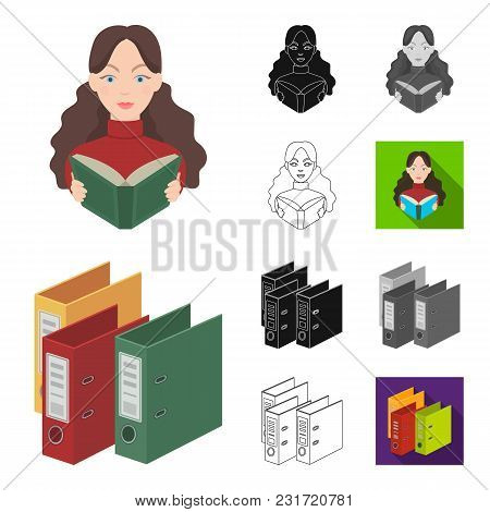 Library And Bookstore Cartoon, Black, Flat, Monochrome, Outline Icons In Set Collection For Design.
