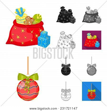 Christmas Attributes And Accessories Cartoon, Black, Flat, Monochrome, Outline Icons In Set Collecti