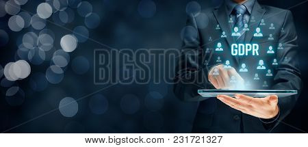 Gdpr (general Data Protection Regulation) Concept. Businessman Or It Technologist With Text Gdpr And