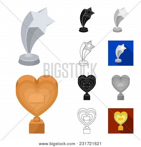Film Awards And Prizes Cartoon, Black, Flat, Monochrome, Outline Icons In Set Collection For Design.