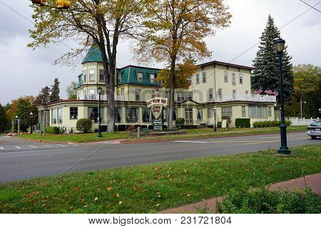 Bay View, Michigan / United States - October 16, 2017:  Staffords Bay View Inn Offers Elegant Lodgin