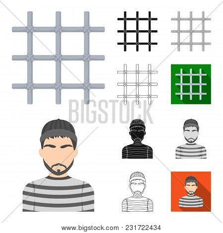 Prison And The Criminalcartoon, Black, Flat, Monochrome, Outline Icons In Set Collection For Design.