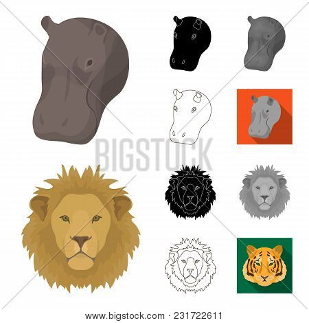 Wild Animal Cartoon, Black, Flat, Monochrome, Outline Icons In Set Collection For Design. Mammal And