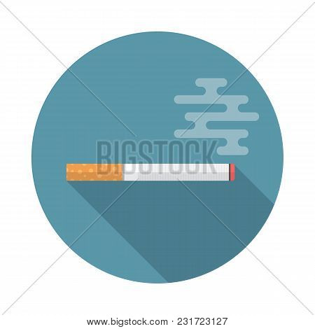 Cigarette Circle Icon With Long Shadow. Flat Design Style. Cigarette Simple Silhouette. Modern, Mini