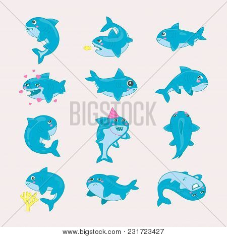 Shark Vector Cartoon Seafish Smiling With Sharp Teeth In Love Illustration Set Of Fishery Characters