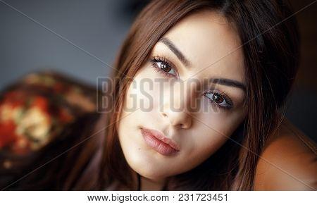 Portrait Of A Beautiful Woman. Woman Closeup Portrait. Natural Light
