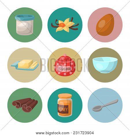Baking Pastry Prepare Cooking Ingredients Kitchen Utensils Homemade Food Preparation Baker Vector Il
