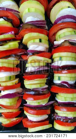 Cut Vegetables Cooked For Baking, Close-up Food Background