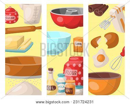 Baking Pastry Prepare Cooking Ingredients Kitchen Cards Utensils Homemade Food Preparation Baker Vec