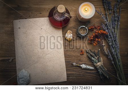 Magic Potion Ancient Recipe Scroll With Copy Space. Alternative Herbal Medicine. Shaman Table With C