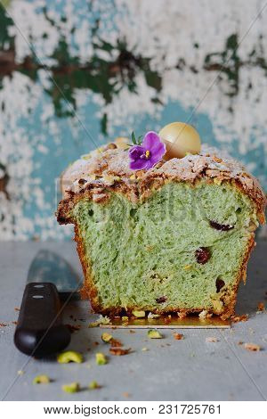 Easter Pistachio Brioche With Dried Cranberries And Almond Cream. Pastry. Festive Cupcake.
