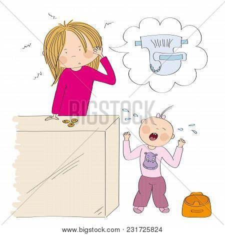 Little Child / Toddler (girl) Does Not Want To Use The Pot. Her Mum, Young Woman, Is Desperate, Coun