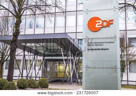 Munich , Germany - February 16 2018: Zdf Is Broadcasting From Unterfoehrung By Munich.