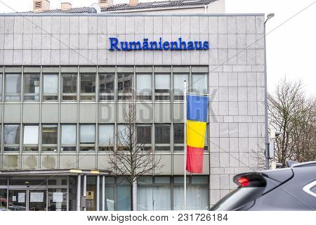 Munich , Germany - February 16 2018 : The Consulate General Is Helping Romanians In Germany.