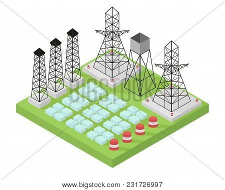 Electric Power Station With Power Poles And Batteries. Vector Illustration In Isometric Style.