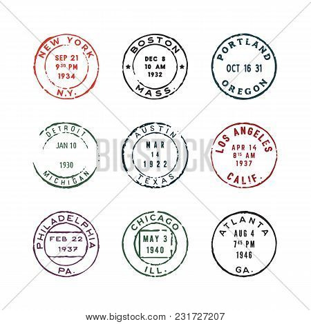 Set Of Vintage Postage Stamps. Mail Design Elements. Vector Illustration