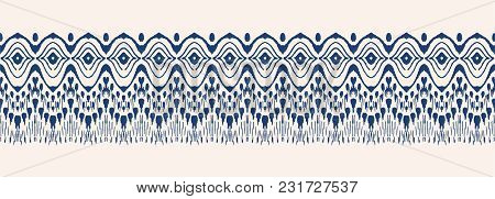 Tie Dye Art Brush And Lace. Vector Ethnic Necklace. Ikat Pattern. Shibori Print With Stripes And Che
