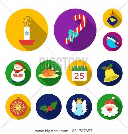 Christmas Attributes And Accessories Flat Icons In Set Collection For Design. Merry Christmas Vector