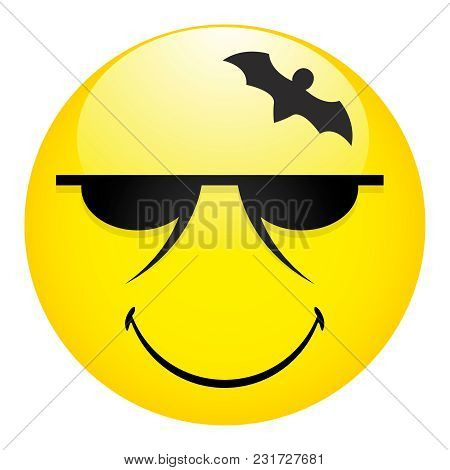 Mysterious Emotions With A Black Bat In The Form Of An Ornament.vector Illustration Of Smile Icon.