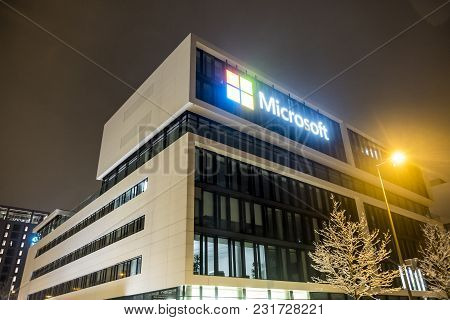 Munich , Germany - February 17 2018 : The German Headquarters Of Microsoft Is Located Close To The H