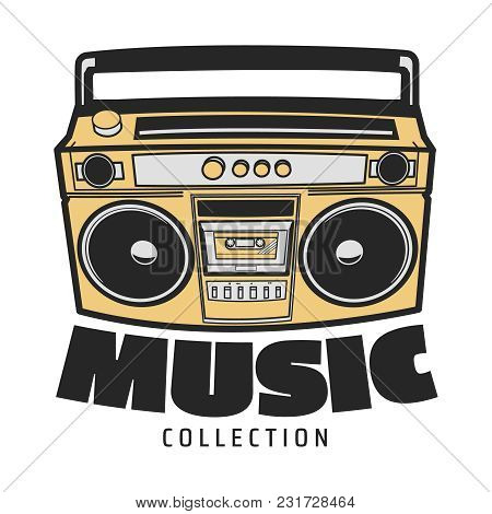 Icon Boombox. Vector Isolated Image Of The Tape Recorder. The Concept Of Street Art. It Can Be Used