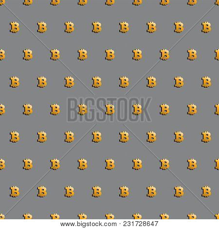 Bitcoin. Cryptocurrency Seamless Pattern. Digital Currency. Golden Bitcoin. Crypto Currency Backgrou