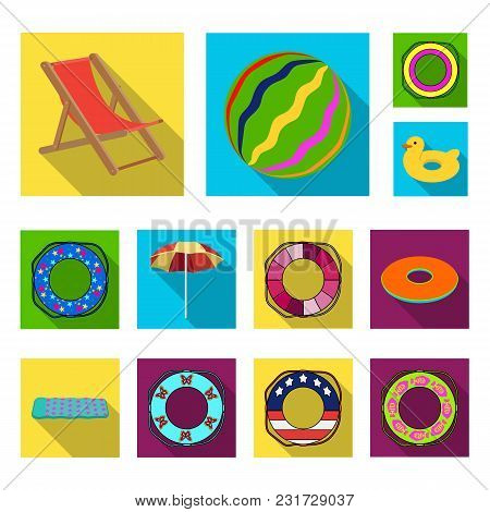 Multicolored Swimming Circle Flat Icons In Set Collection For Design. Different Lifebuoys Vector Sym