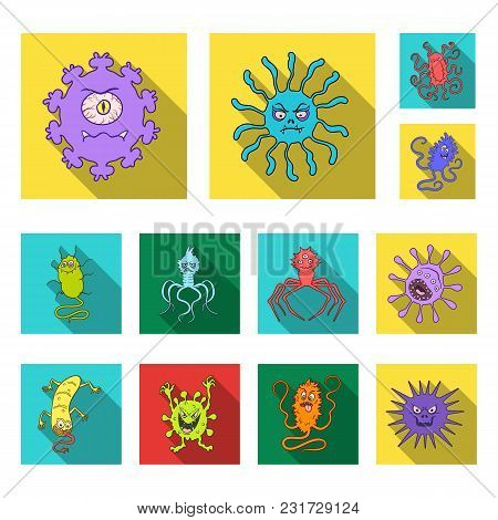 Types Of Funny Microbes Flat Icons In Set Collection For Design. Microbes Pathogenic Vector Symbol S